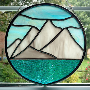 Stained Glass Mountain Landscape, Round Stained Glass Window Panel, Mountain Lake Suncatcher, Winter Landscape, Snow Capped Mountains