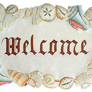 Painted Metal Art- Shell Welcome Sign - Nautical Decor - Island Decor - Outdoor Metal Wall Art - T-1266