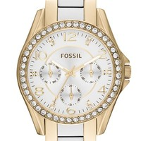 Fossil 'Riley' Crystal Bezel Resin Link Bracelet Watch, 38mm