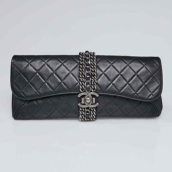 Chanel Black Lambskin Leather and Chain Clutch Bag