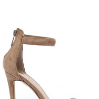 Meet Your Match Beige Suede Ankle Strap Heels