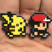 Pixel Ash and Pikachu Set Heady Hat Pins