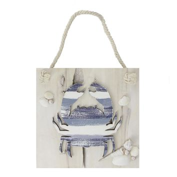 """10"""" Nautical Blue and White Striped Crab Hanging Wooden Wall Plaque with Seashells"""
