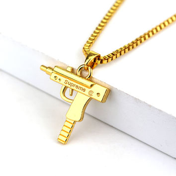 Fashion Hip Hop Jewelry Engraved Letter Gun Necklace 65cm Long Chain Supreme Quality Pendant Necklaces HipHop For Men Women Gift