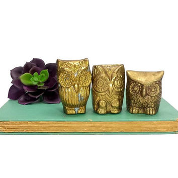 Brass Owl Figurines Set of 3 Small Vintage Woodland Animals Decor Boho Bird Statuettes