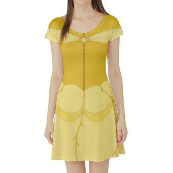 Belle Beauty and the Beast Inspired Short Sleeve Skater Dress
