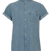 Blue Denim Stand Collar Short Sleeve Shirt - Men's Shirts  - Clothing