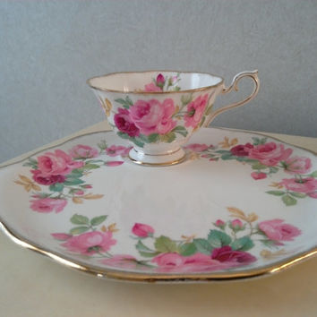 Princess Anne Bone China England Tea Cup and Large Dish Saucer/Plate Rare Vintage 1940s - 1950s