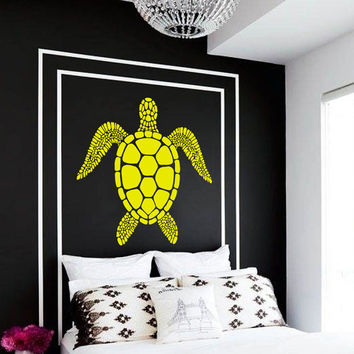 Wall Decal Vinyl Sticker Decals Art Home Decor Design Mural Turtle Tortoise Tortoiseshell Water Sea Animal Swim Fashion Bedroom Dorm AN68
