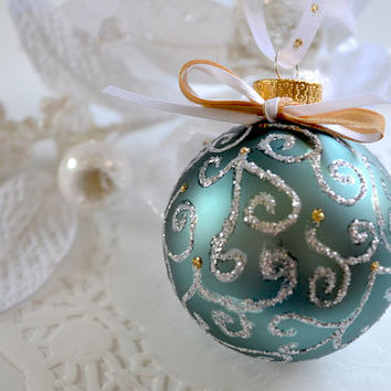 Hand Painted Ornament, Holiday Ornament, Glass Ball Ornament, Christmas Ornament