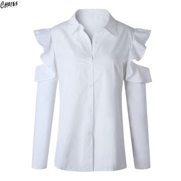 White Cold Shoulder Ruffle Long Sleeve Shirt Women Buttons Up Front Turn Down Collar Casual Hollow Out Fall Blouse Top
