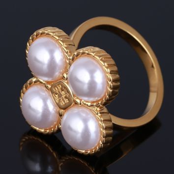 Tory Burch New fashion floral pearl metal personality ring women Golden
