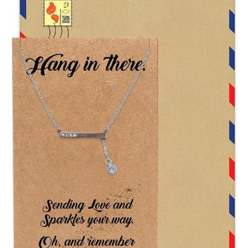 Alona Crystal Hangs in Bar Pendant Necklace Inspirational Jewelry Greeting Card