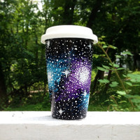 Hand painted galaxy ceramic travel mug with by ArianaVictoriaRose