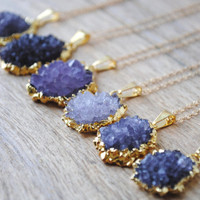Gold Amethyst Flower Cluster Necklace, Amethyst Geode Necklace, Amethyst Druzy Jewelry