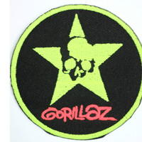 "GORILLAZ Skull Star Iron On Sew On Embroidered Patch 3""/7.6cm"