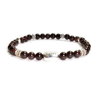 Garnet Bracelet , Genuine Garnet Gemstone Stretch Bracelet , Sterling Silver Hope Charm