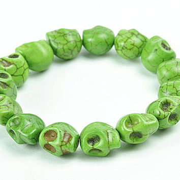 Light Green Skeleton Bracelet, Tiny Skull Bracelet, Skull Light Green Bracelet (B0215-Light Green)