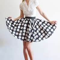 Full Circle Short Polka Dot Cotton Skirt Perfect by LanaStepul