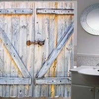 Wood Door Style Shower Curtain