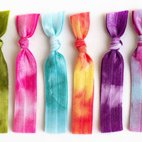The Boho Tie Dye Hair Tie Package 6 Elastic Tie by ManeMessage