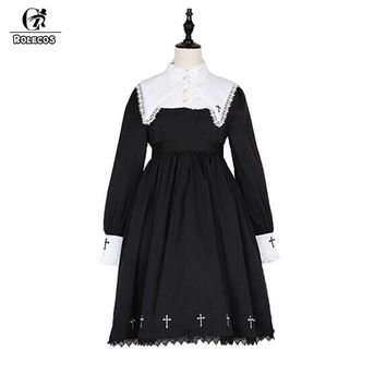 ROLECOS Steampunk Darkness Cross Dress For Women Gothic Lolita Nun Sister Lace Long Sleeve Dress Cross Embroidery Cosplay Dress
