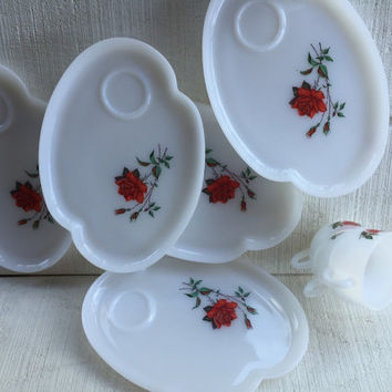 5 Vintage Federal Rosecrest White Milk Glass Snack Sets, Mid century red rose snack trays, wedding shower brunch luncheon serving sets