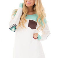 Mint and Ivory Top with Patterned Elbow Patch