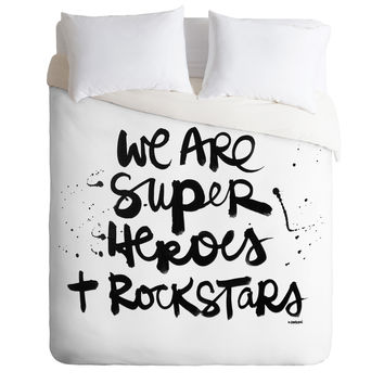 Kal Barteski Superheroes Duvet Cover
