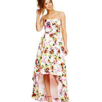 Sequin Hearts Floral Print Strapless Slight High-Low Dress | Dillards