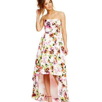 4e654ccb708 Sequin Hearts Floral Print Strapless Slight High-Low Dress