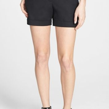 Petite Women's Vince Camuto Flat Front Cuff Stretch Cotton Shorts