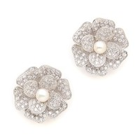 Kenneth Jay Lane Pave Flower Earrings