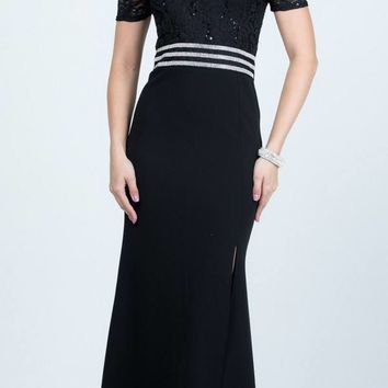 Full Length Off the Shoulder Black Lace and Crepe Dress With Slit