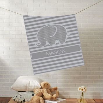 Knit Baby Blanket | Baby Elephant | Custom Name Stroller Blanket | Boy or Girl | 100% Cashwool
