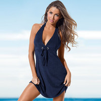 2017 Trending Fashion Summer Women Sexy Backless Beach Halter Neck V Neck Solid Erotic One Piece Dress _ 11992