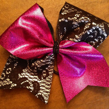 Cheer Bow - Pink and Lace