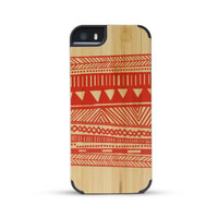 Bamboo Indian Design Print Wooden Case For iphone 5 5S
