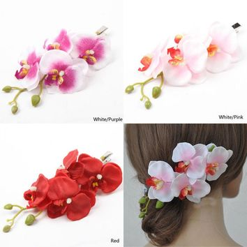Beauty Women's Butterfly Orchid Flower Hair Clip Barrette Pin Bridal Wedding Party On Sale
