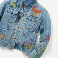 Free People Vintage 1970s Hand Embroidered Denim Jacket