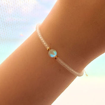 White Holographic Friendship Bracelet - best friend gift - best friend bracelet - gift for her - best friend birthday - beaded bracelet