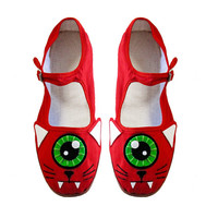 Zyklop Cat Schuhe - Red One Eyed Kitty Mary Janes - (Damen Größen 4, 5, 6, 7, 8, 9, 10)