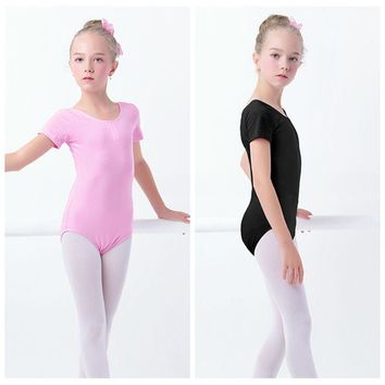 Black Girls Kids Gymnastics Leotard Cotton Spandex Ballet Leotards Short Sleeve Ballet Clothes Dancewear
