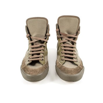 Olive Suede and Canvas Sneakers