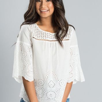 Lauren White Eyelet Top