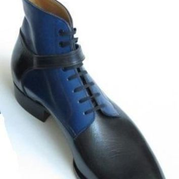 Wakeby Wolf Finesse Black/Blue Wrap Monk Strap Chelsea Leather Boots