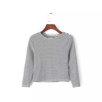 Round-neck High Rise Crop Top Stripes Three-quarter Sleeve T-shirts [6047275009]