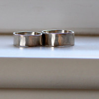 Square White Gold Wedding Band Set - recycled metal