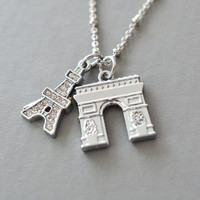 eiffel tower necklace, arc de triomphe france necklace, lariat pendant, best friend necklace, paris necklace, layered necklace, paris charm