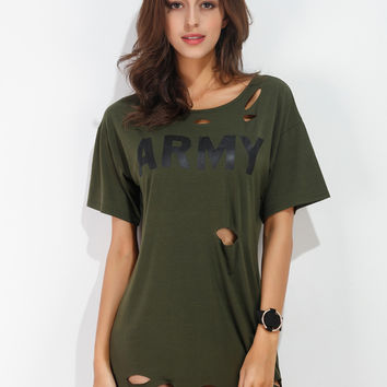 Army Green Letter Print Ripped Short Sleeve Mini T-shirt Dress